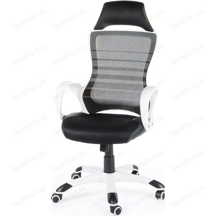 Кресло офисное NORDEN Реноме белый пластик/черная ткань/черная сетка
