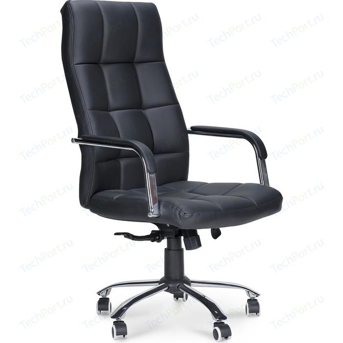 Кресло офисное NORDEN Римини хром/черная экокожа