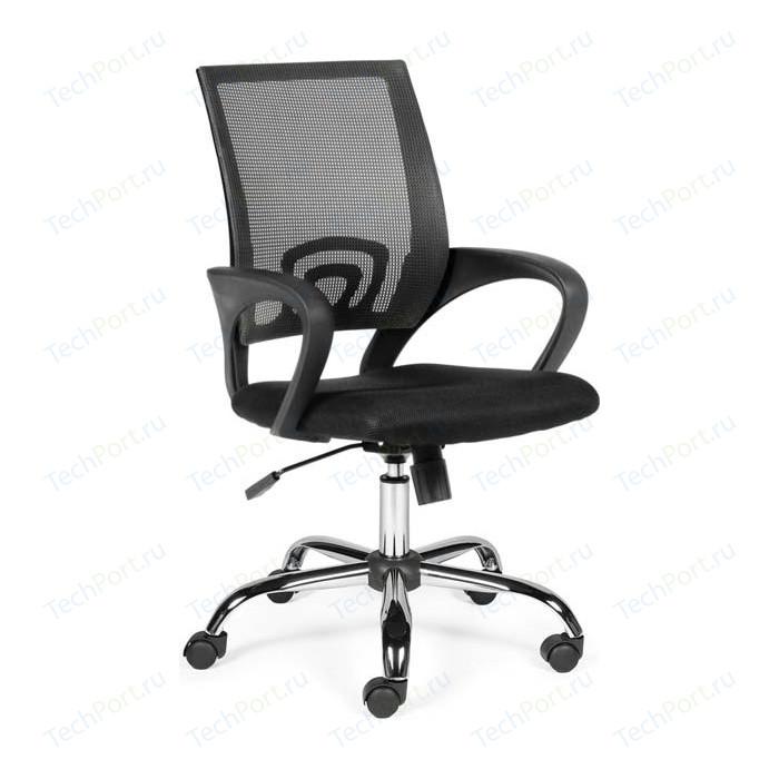 Кресло офисное NORDEN Спринг full black база хром/черная сетка/черная ткань