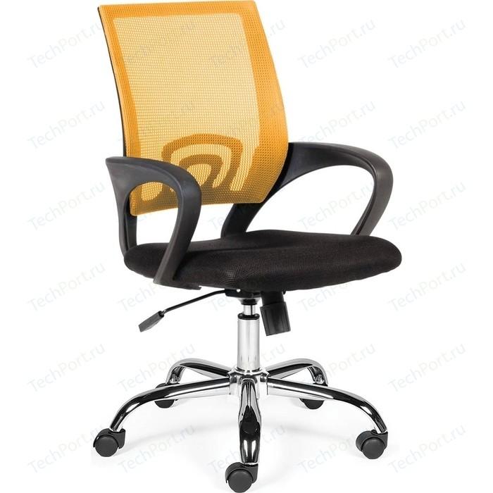 Кресло офисное NORDEN Спринг orange-black база хром/оранжевая сетка/черная ткань