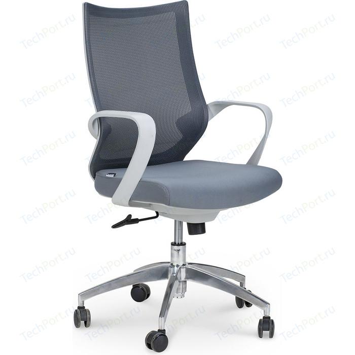 Кресло офисное NORDEN Спэйс gray LB/ светло-серый пластик/серая сетка/темно-серая ткань