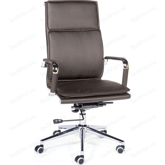 Кресло офисное NORDEN Харман brown хром/темно- коричневая экокожа