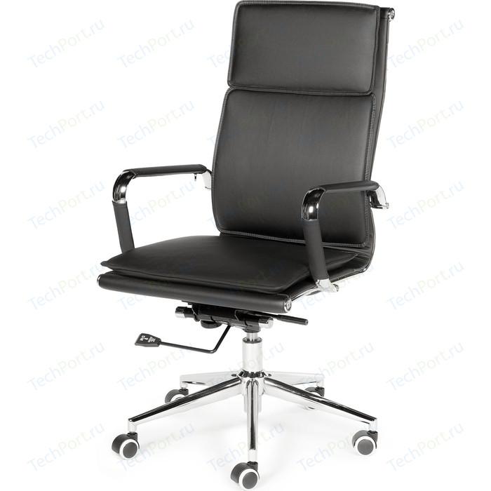 Кресло офисное NORDEN Харман black хром/черная экокожа