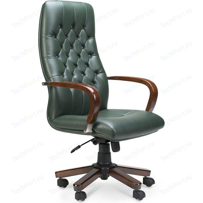 Кресло офисное NORDEN Честер дерево/зеленая экокожа