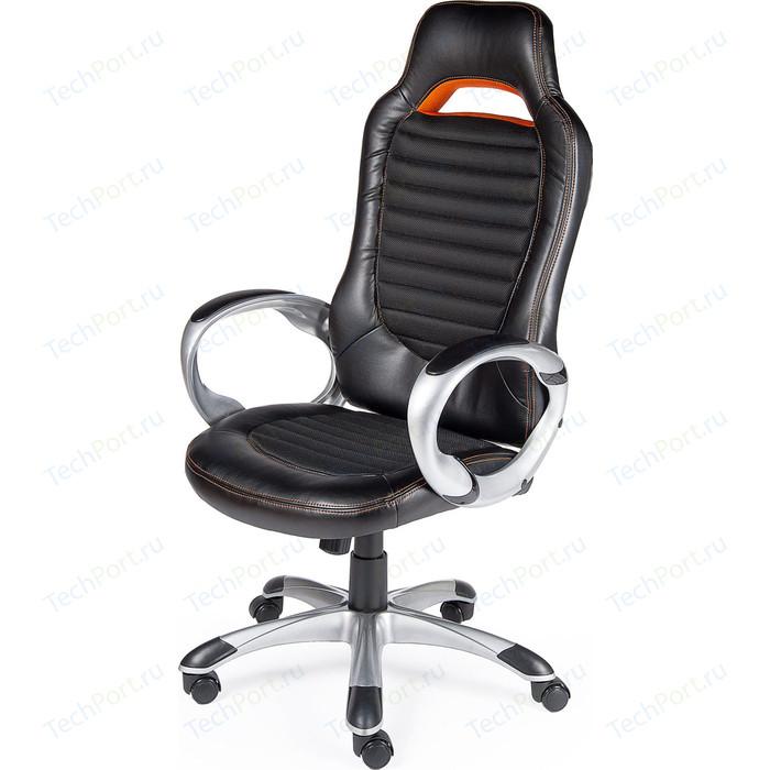 Фото - Кресло офисное NORDEN Шелби серый пластик/черная экокожа/оранжевая строчка кресло офисное norden президент сталь хром черная экокожа