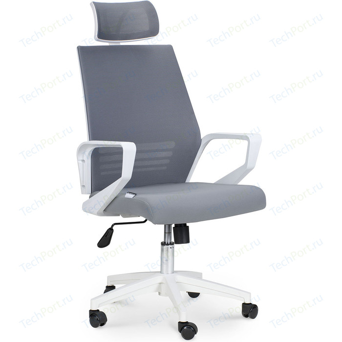 Кресло офисное NORDEN Эрго белый пластик/серая сетка/серая ткань