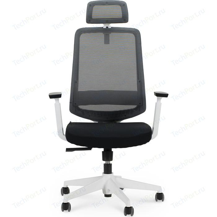 Кресло офисное NORDEN Лондон офис white plastic/ белый пластик/серая сетка/черная ткань