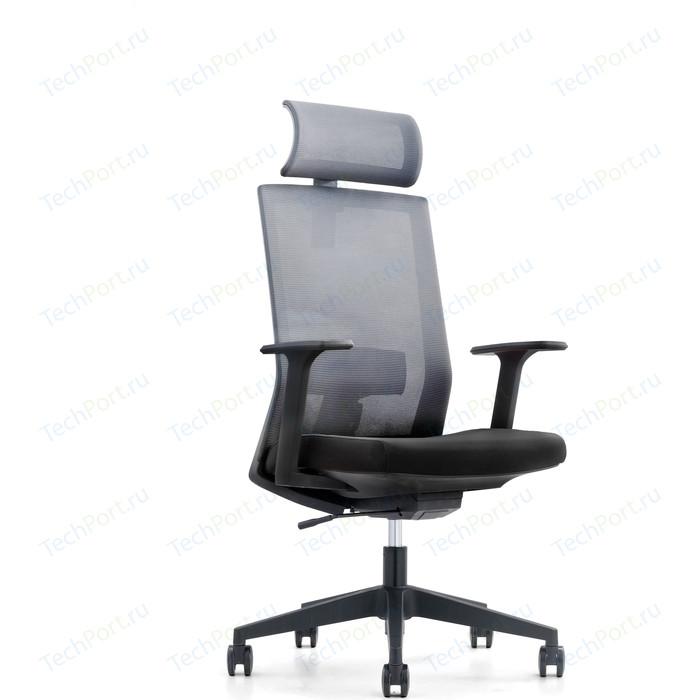 Кресло офисное NORDEN Партнер черный пластик/серая сетка/черная ткань