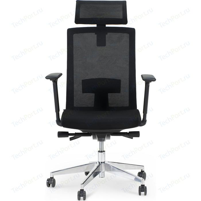 Кресло офисное NORDEN Партнер aluminium/ черный пластик/черная сетка/черная ткань (мультиблок)