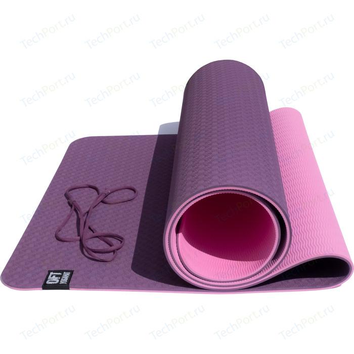 Коврик Original FitTools для йоги 6 мм двуслойный TPE бордово розовый