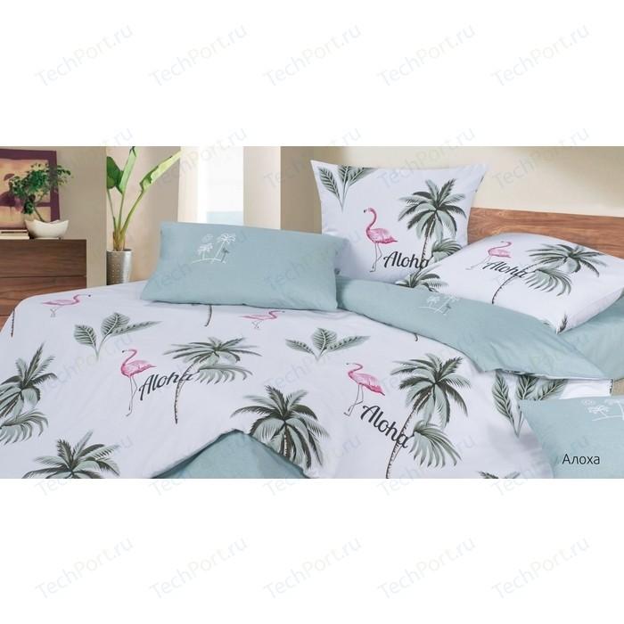 Комплект постельного белья Ecotex семейный, сатин, Гармоника Алоха (4660054344657)