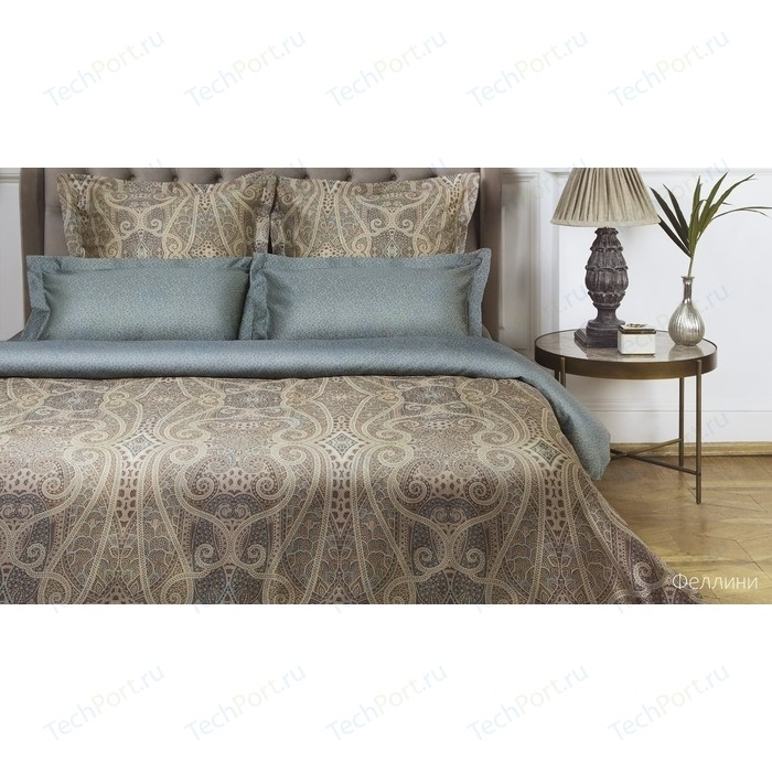 Комплект постельного белья Ecotex евро, сатин люкс, Новеллика Феллини (4660054342745)