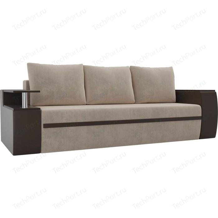 Прямой диван АртМебель Майами велюр бежевый/экокожа коричневый