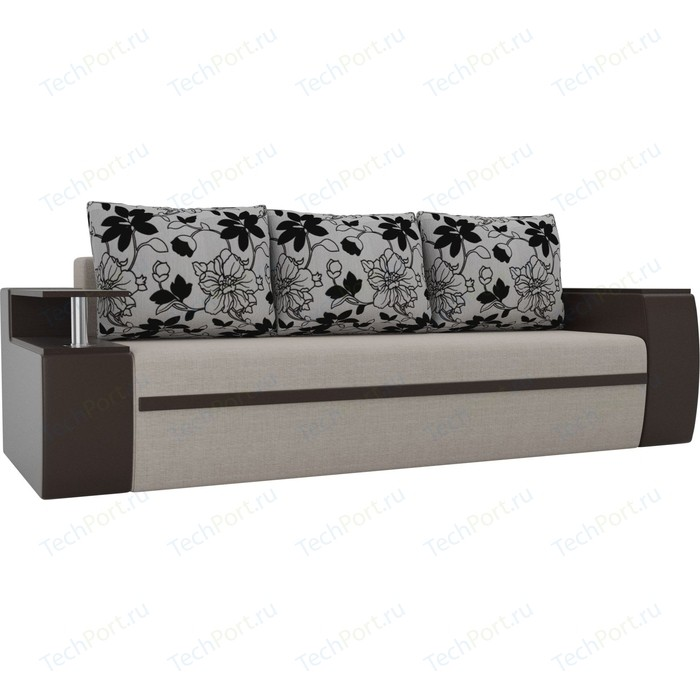 Прямой диван АртМебель Майами рогожка бежевый/экокожа коричневый подушки на флоке