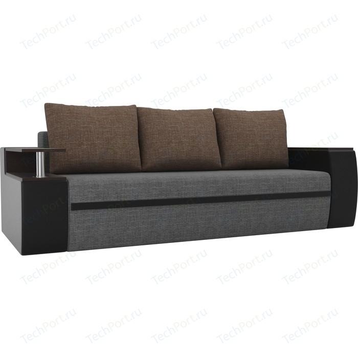 Прямой диван АртМебель Майами рогожка серый экокожа/черный подушки коричневый
