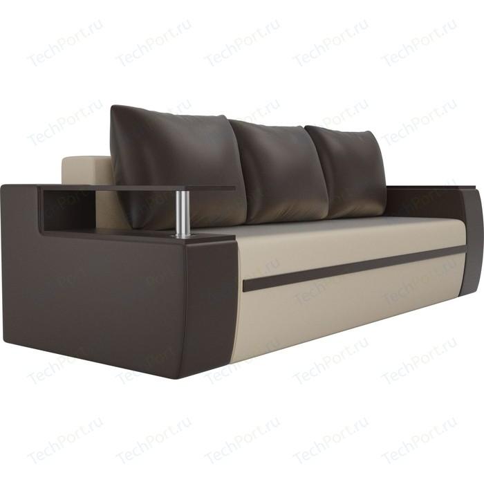 Прямой диван АртМебель Майами экокожа бежевый/коричневый