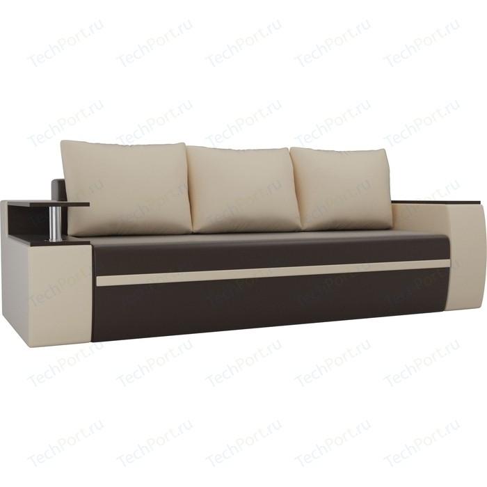 Прямой диван АртМебель Майами экокожа коричневый/бежевый