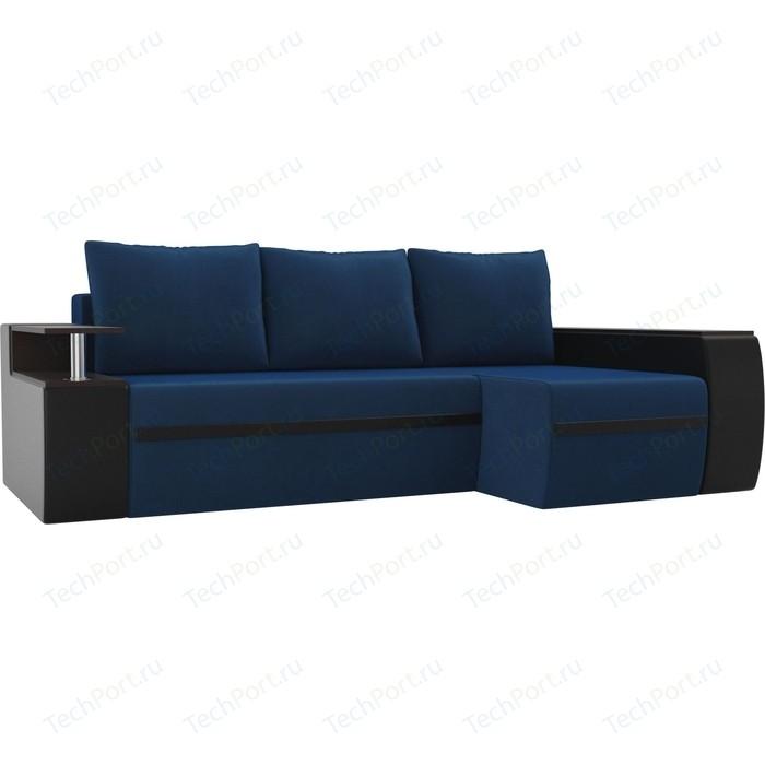 Угловой диван АртМебель Майами велюр голубой/экокожа черный правый угол угловой диван артмебель майами велюр бирюза экокожа коричневый правый угол