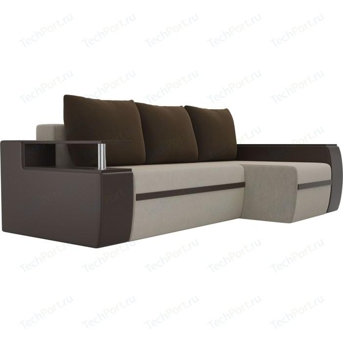 Угловой диван АртМебель Майами микровельвет бежевый/экокожа коричневый подушки правый угол