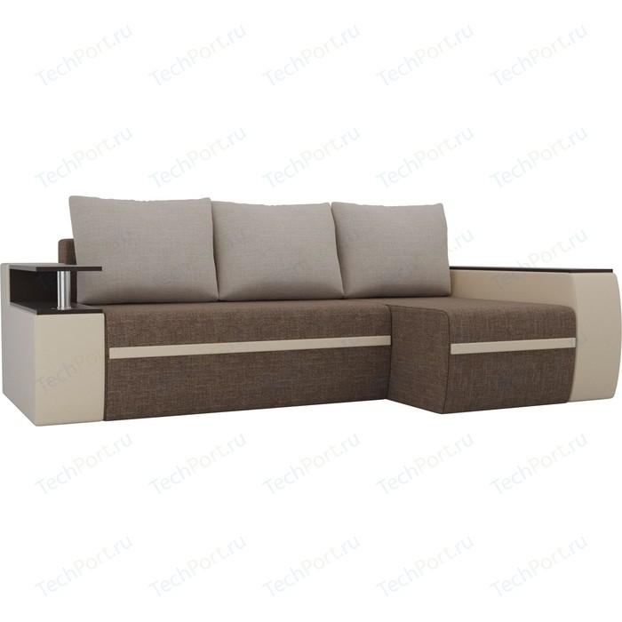 Угловой диван АртМебель Майами рогожка коричневый/экокожа бежевый подушки правый угол
