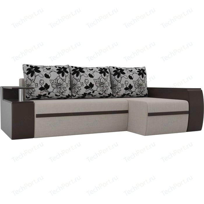 Угловой диван АртМебель Майами рогожка коричневый/экокожа коричневый подушки на флоке правый угол