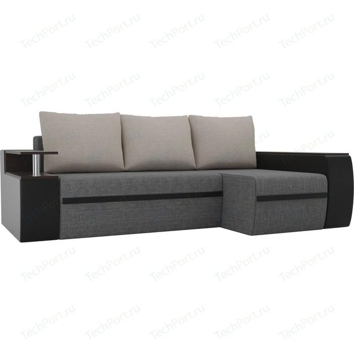 Угловой диван АртМебель Майами рогожка серый/экокожа черный подушки бежевый правый угол