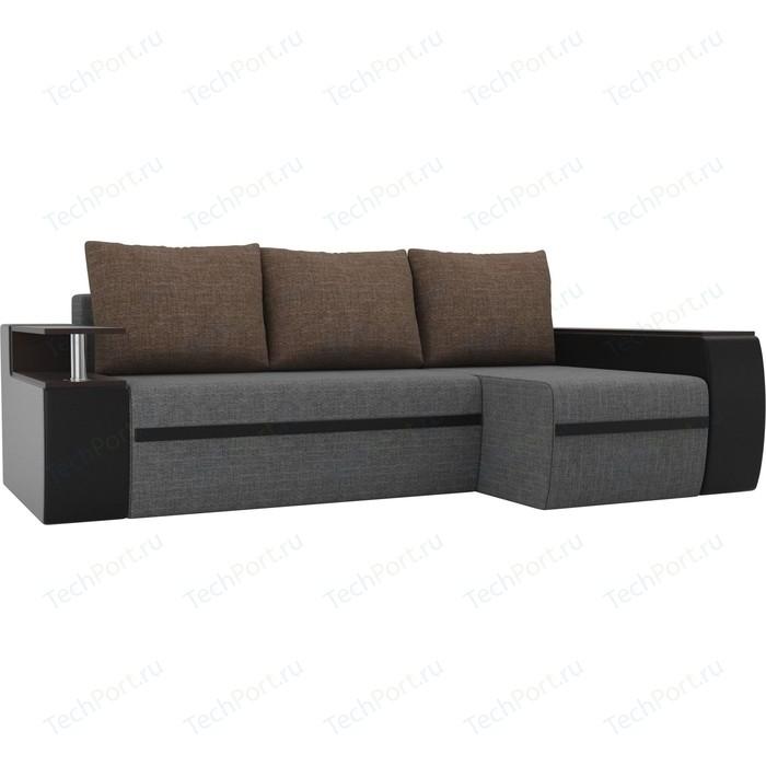 Угловой диван АртМебель Майами рогожка серый/экокожа черный подушки коричневый правый угол