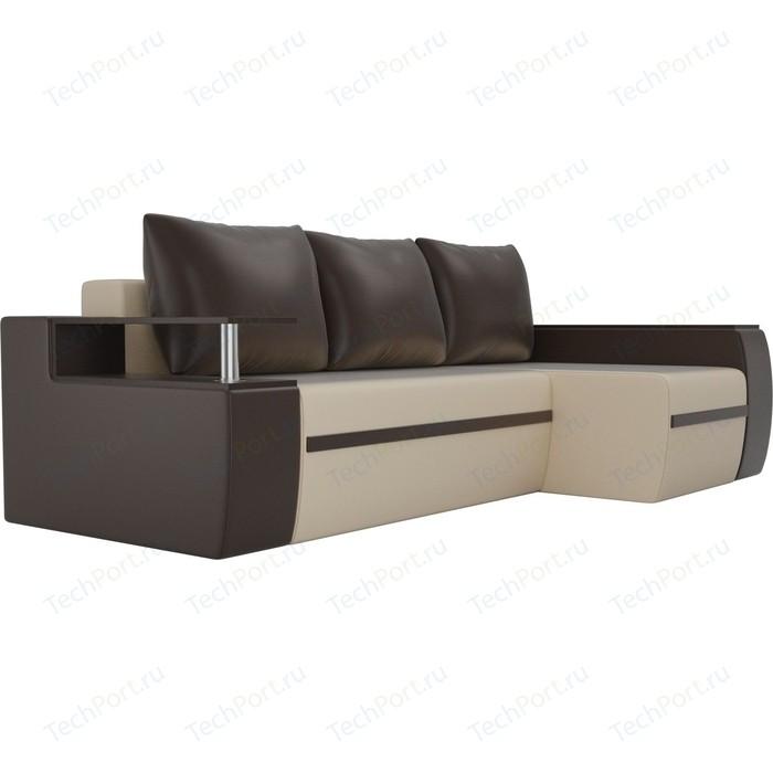 Угловой диван АртМебель Майами экокожа бежевый/коричневый правый угол