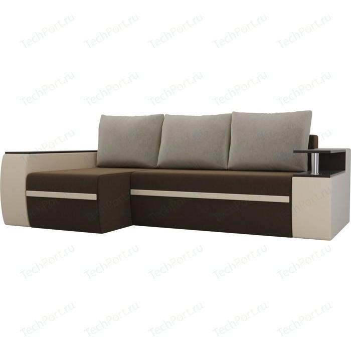 Угловой диван АртМебель Майами микровельвет коричневый/экокожа бежевый подушки левый угол