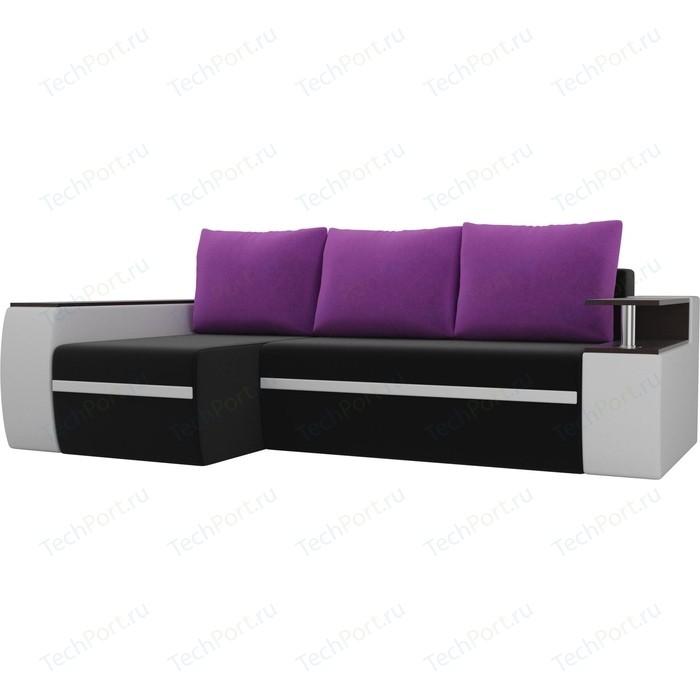 Фото - Угловой диван АртМебель Майами микровельвет черный/экокожа белый подушки микровельвет фиолетовый левый угол диван угловой артмебель николь микровельвет черный фиолетовый левый угол