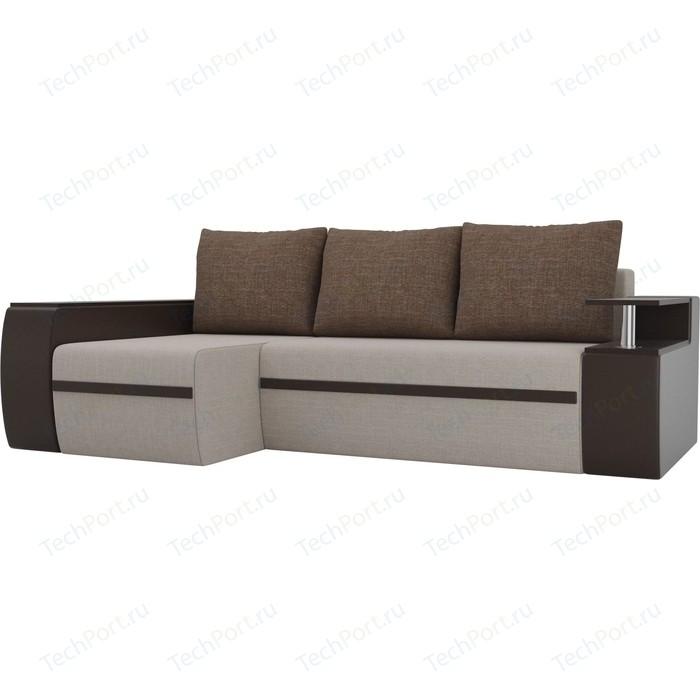 Угловой диван АртМебель Майами рогожка бежевый/экокожа коричневый подушки левый угол