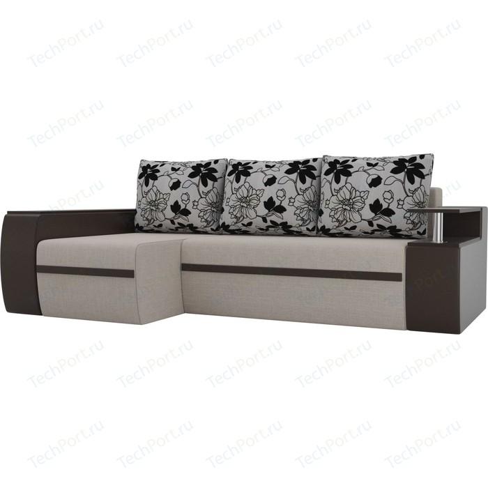 Угловой диван АртМебель Майами рогожка коричневый экокожа подушки на флоке левый угол