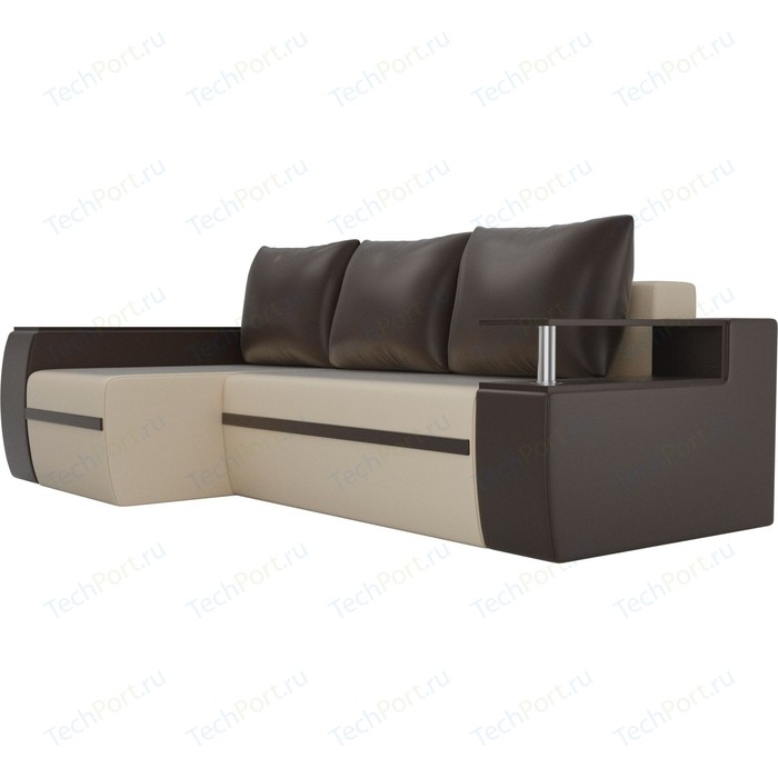 Угловой диван АртМебель Майами экокожа бежевый/коричневый левый угол