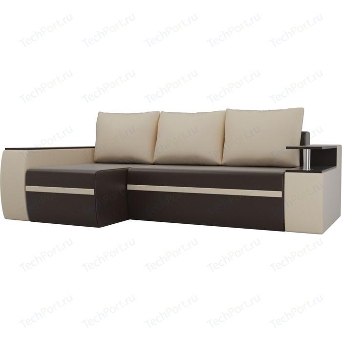 Угловой диван АртМебель Майами экокожа коричневый/бежевый левый угол