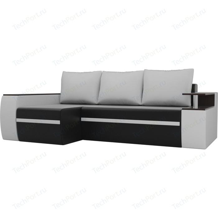 Угловой диван АртМебель Майами экокожа черный/белый левый угол