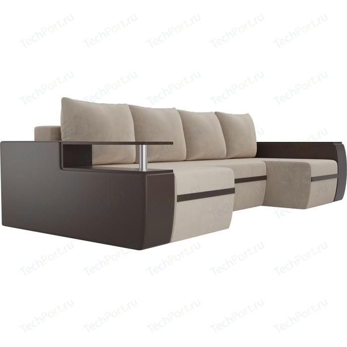 П-образный диван АртМебель Майами велюр бежевый экокожа коричневый
