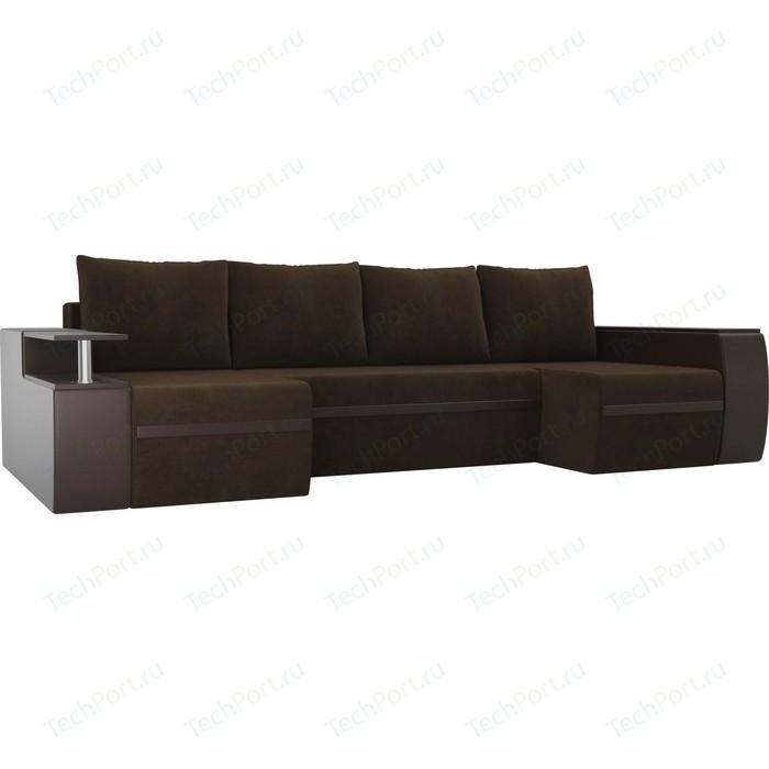 П-образный диван АртМебель Майами велюр коричневый экокожа