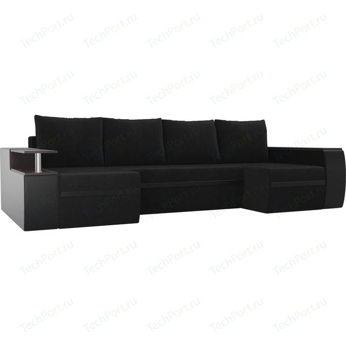 П-образный диван АртМебель Майами велюр черный экокожа