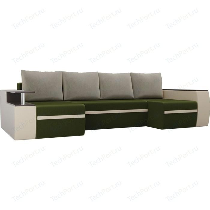 Фото - П-образный диван АртМебель Майами микровельвет зеленый экокожа бежевый п образный диван артмебель майами корфу 03 экокожа бежевый