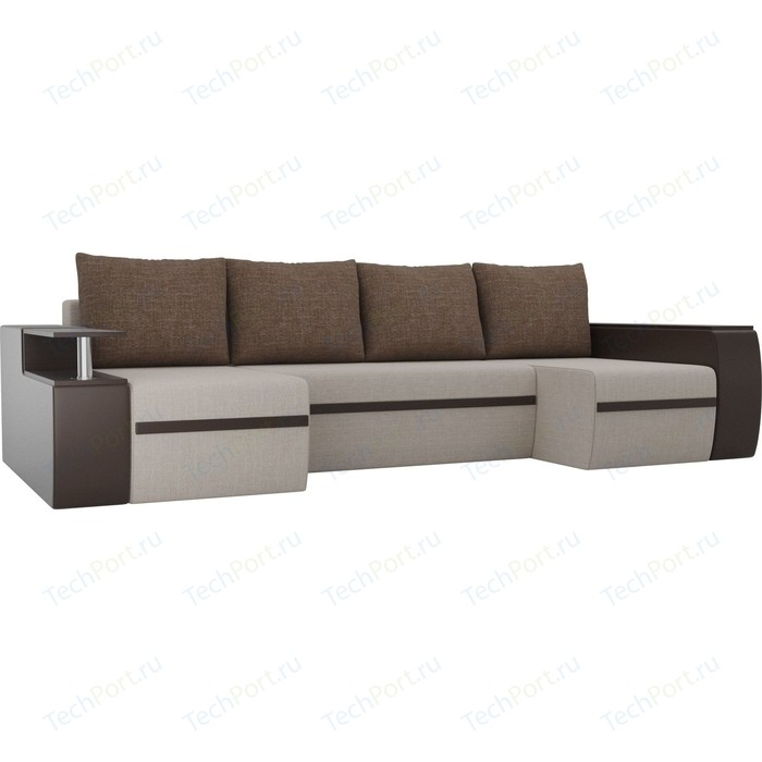 П-образный диван АртМебель Майами рогожка бежевый экокожа коричневый подушки