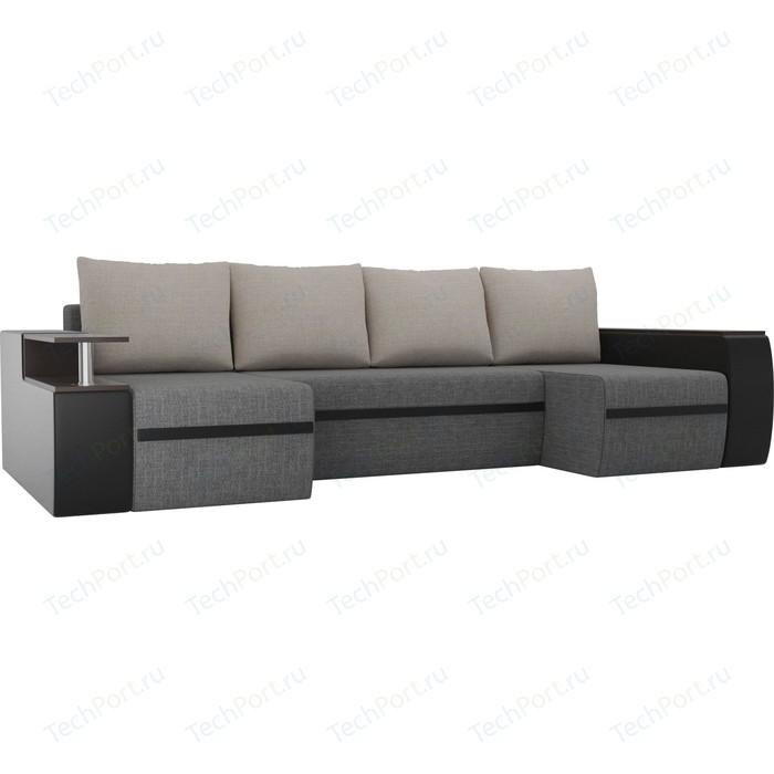 Фото - П-образный диван АртМебель Майами рогожка серый/экокожа черный подушки рогожка бежевый диван артмебель валенсия рогожка серый п образный