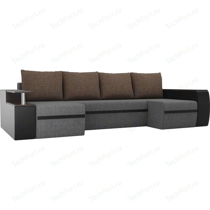 Фото - П-образный диван АртМебель Майами рогожка серый/экокожа черный подушки рогожка коричневый диван артмебель валенсия рогожка серый п образный