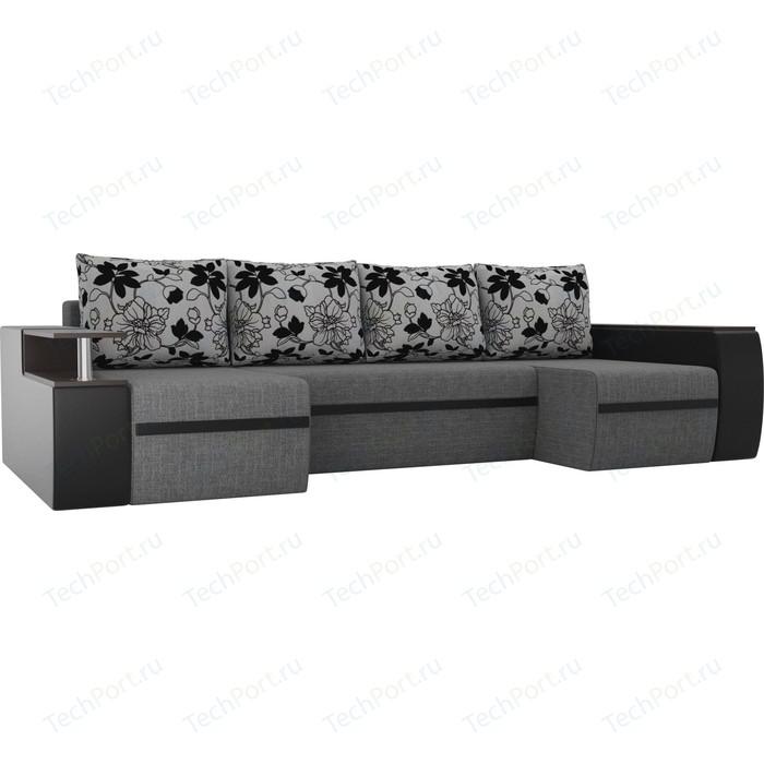 П-образный диван АртМебель Майами рогожка серый/экокожа черный подушки на флоке