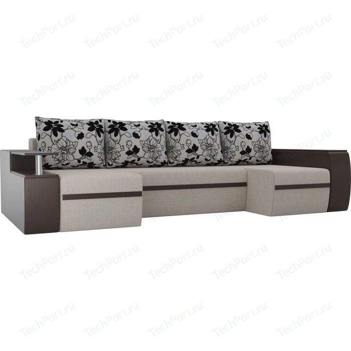 Диван АртМебель Майами рогожка бежевый/экокожа коричневый подушки на флоке П-образный