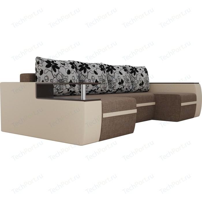 Фото - Диван АртМебель Майами рогожка коричневый/экокожа бежевый подушки рогожка на флоке П-образный п образный диван артмебель майами корфу 03 экокожа бежевый