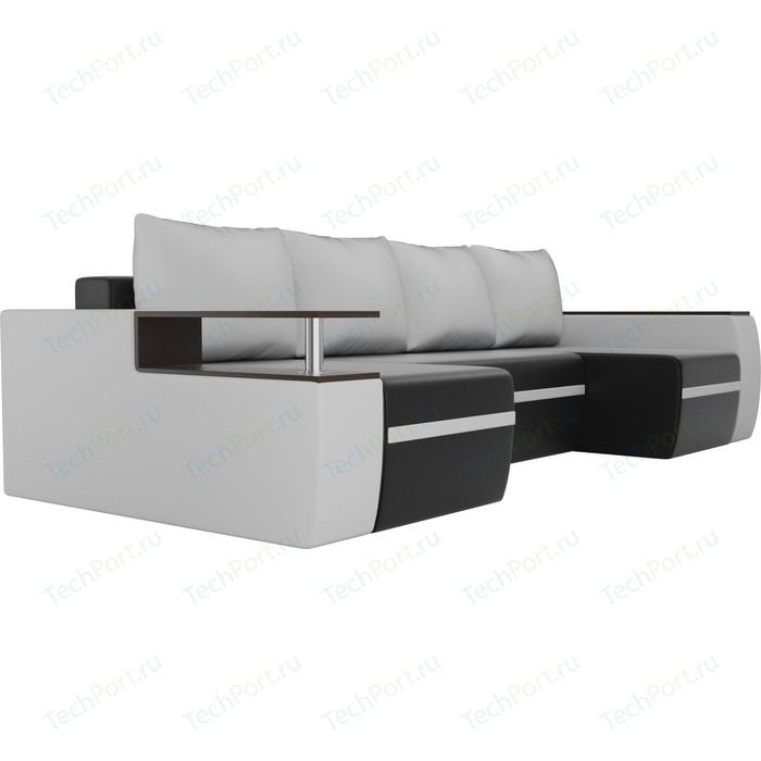 Фото - Диван АртМебель Майами экокожа черный/белый П-образный п образный диван артмебель майами корфу 03 экокожа бежевый