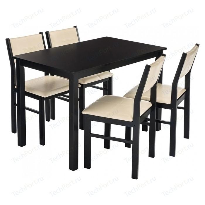 Обеденная группа Woodville Bahamas (стол и 4 стула) cappuccino/cream