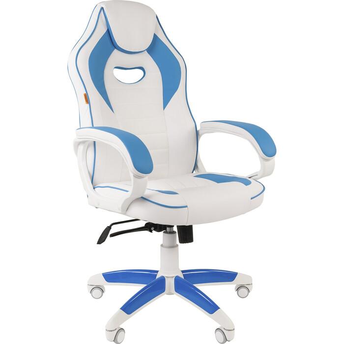 Кресло Chairman Game 16 экопремиум белый/голубой
