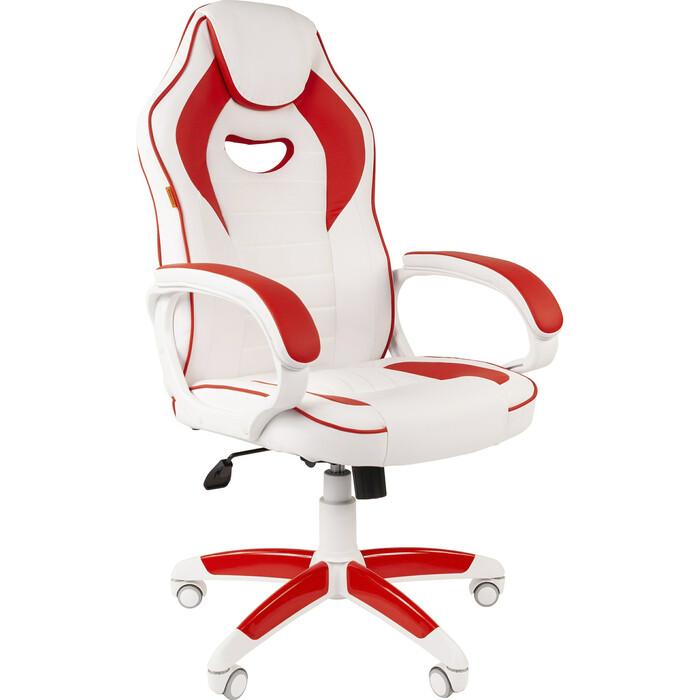 Кресло Chairman Game 16 экопремиум белый/красный