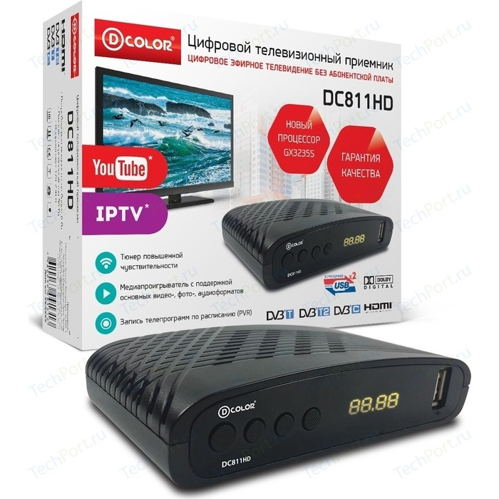 Тюнер DVB-T2 D-Color DC811HD